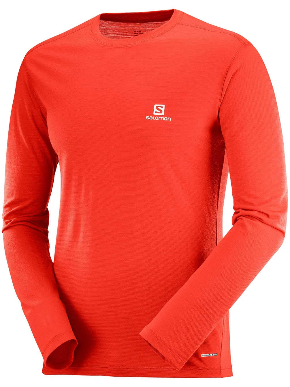 Hombre Rojo Salomon X Wool LS tee M Fiery Red Camiseta