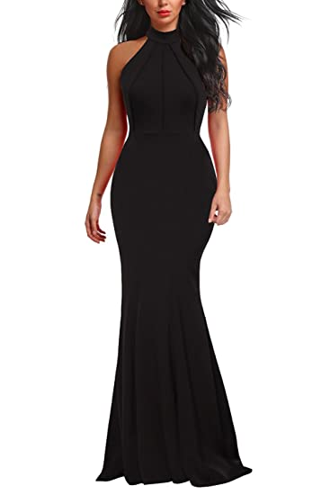 7e2a0ab690a9f Berydress Women's Sleeveless Halter Neck A-Line Casual Party Dress