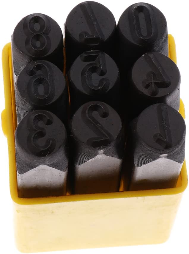HomeDecTime Set Di Lettere E Numeri Di Francobolli Set Di Punzoni In Acciaio Per Utensili In Metallo Realizzato In Acciaio Al Carbonio Di Alta Qualit/à Lettera 3mm