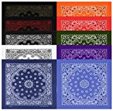 Large Bandanas 27 x 27 | Versatile Biker Rags | Classic Paisley Bandana Pattern,B.White/B.Copper/B.Red/Red/White/Navy/B.Jean/Purple/Orange/Olive,10 Pack