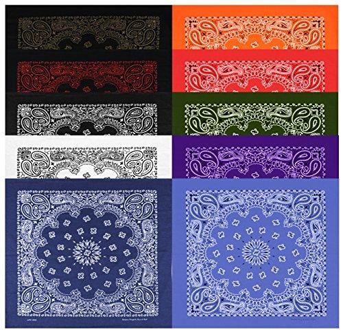 Denim Bandana - Large Bandanas 27 x 27 | Versatile Biker Rags | Classic Paisley Bandana Pattern,B.White/B.Copper/B.Red/Red/White/Navy/B.Jean/Purple/Orange/Olive,10 Pack