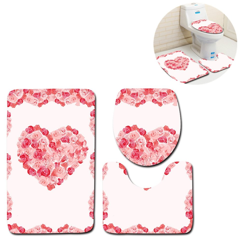 Mrsrui 3-Piece Bathroom Rug Set Machine Washable Bath Mats Extra Soft Perfect for Doormats, Tub, Shower (ten) by Mrsrui