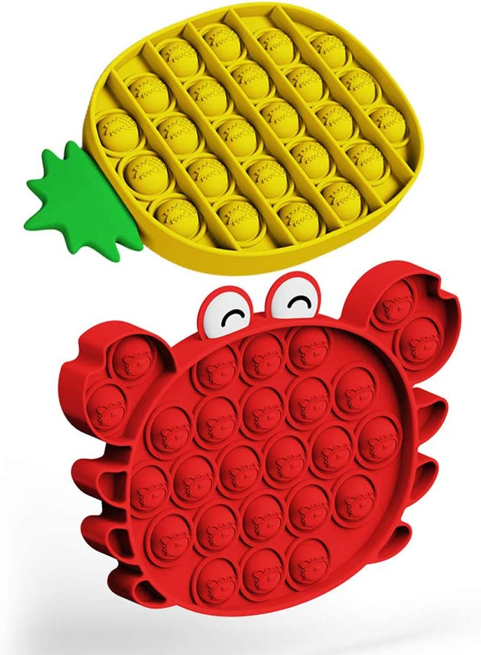 Push Pop Bubble Fidget Toy - 2PCS 3D Cartoon Cute Figure Crab and Pineapple, Autism Special Needs Sensory Toy, Stress Reliever Relaxing Toy, Silicone Squeeze Anti-Anxiety Tools for Kids and Adults