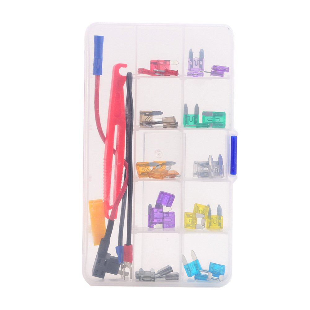 Car Truck Boat Blade Small Low Profile Fuse Assortment Kit Replacement Fuse + Add-a-Circuit Tool Kit Fuse Puller Clip Holder Tap 2/3/5/7.5/10/15/20/25/30/35AMPS Auto Dash Camera Install