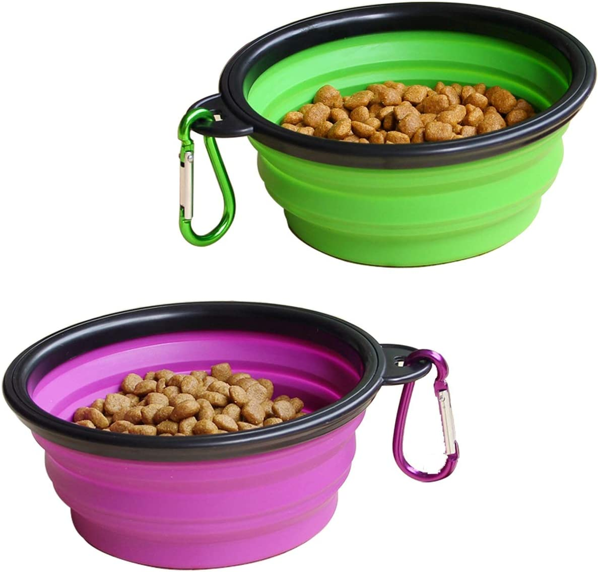 STARUBY 2-Pack Large Collapsible Dog Bowl, 7 Inch Foldable Pet Travel Bowl, Portable Cat Feeding Dish, for Outdoor Camping Pet Food Water Bowl Green and Purple