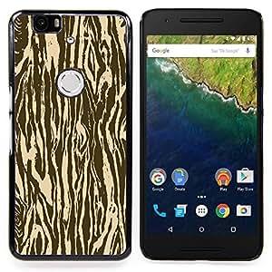 """Qstar Arte & diseño plástico duro Fundas Cover Cubre Hard Case Cover para Huawei Google Nexus 6P (Zebra Madera Animal Patrón de Brown"""")"""