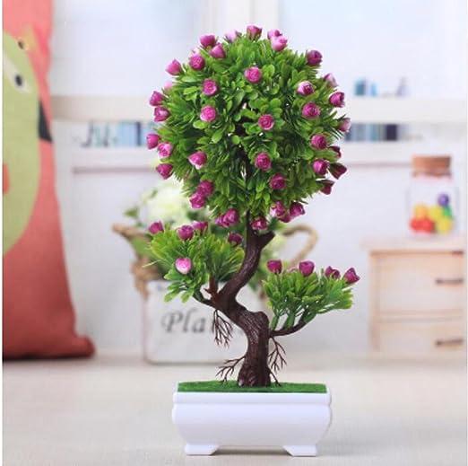 2018 decorativa Flores Simulación Artificial Planta Flor árbol verde Algodón olla (mucho color) Salón Mesa plástico Flores. Lucky Feng Shui Decoración (Multi de color), B: Amazon.es: Juguetes y juegos