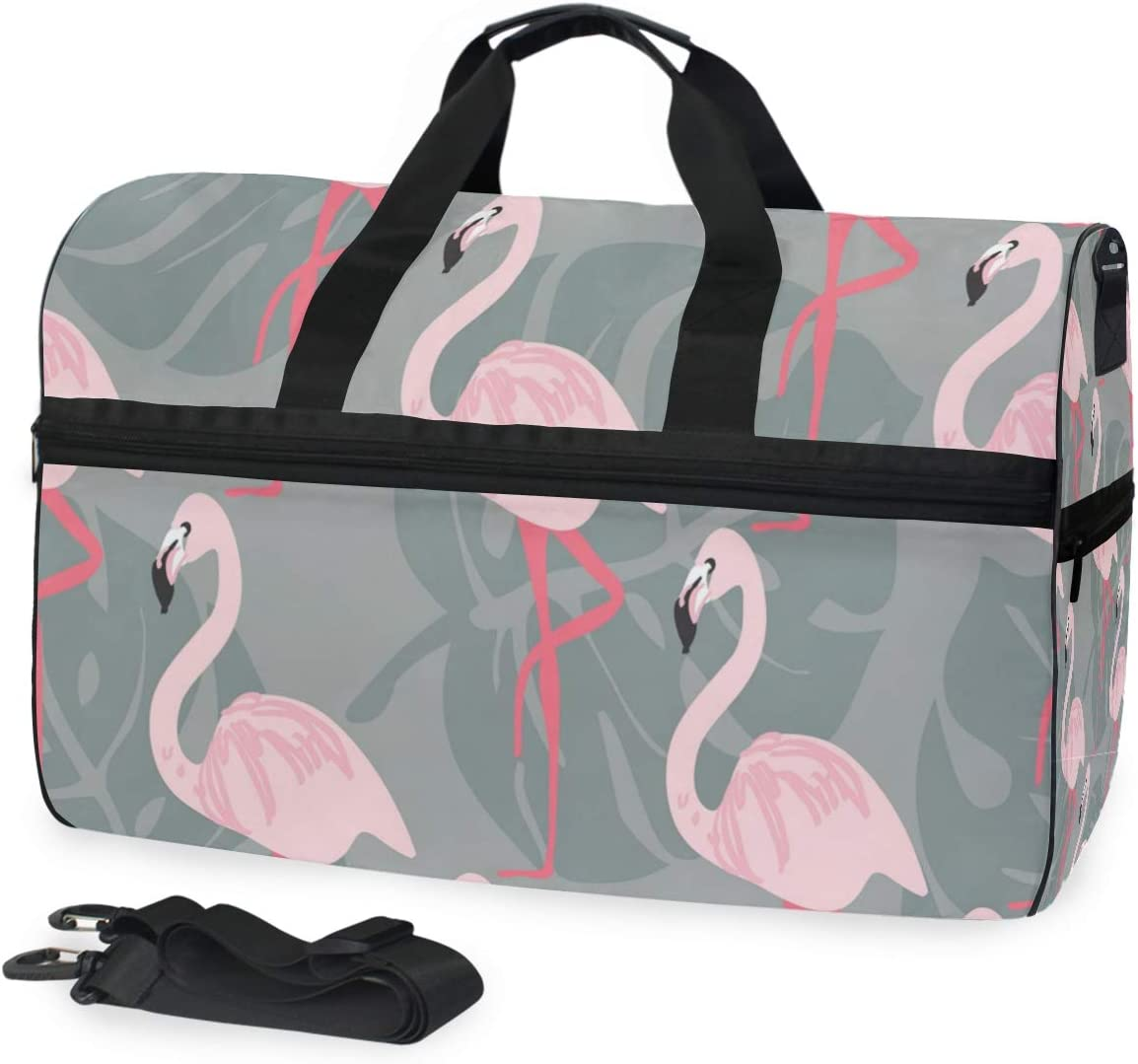 Travel Duffel Bag Waterproof Fashion Lightweight Large Capacity Portable Luggage Bag Pink Flamingo