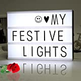 NOPTEG DIY Cinema Light Box with 90 Letters and LED Light - Free Combination, A4 Size (90 pc Signs)