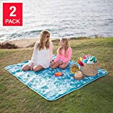 Bright And Cheery Soft Durable HEAVY DUTY BLUE/WHITE Bring Me Anywhere Waterproof Base Handy Compact Fold Design Lightspeed Outdoor Blanket 2-Pack - Perfect For Beach, Outings And Sporting Events