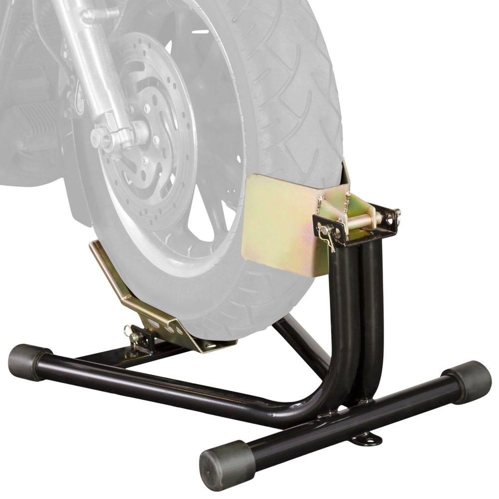 Black Widow BW-CH-DX1 Black 16-18 Locking Front Motorcycle Wheel Chock, 1 Pack
