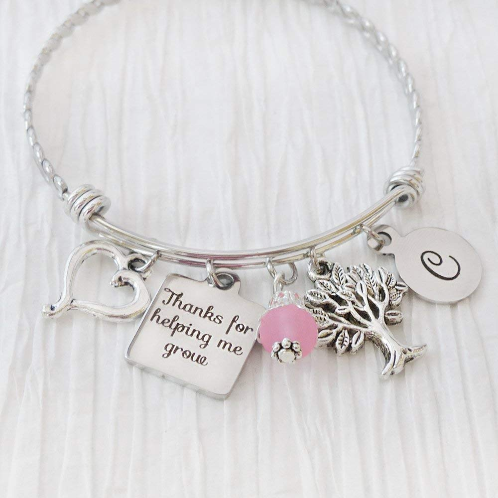 PERSONALIZED gift gifts for HER TEACHER Gift Bangle bracelet thank you for helping me grow personalized jewelry personalized jewelry
