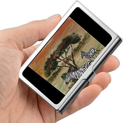 Arte Hermoso Pintura al óleo Animal Zebra Estuche para tarjetas de presentación Estuches para tarjetas de presentación a prueba de agua Profesional Metal 3.81x 2.7 X 0.29 pulgadas Soporte de tarjeta: Amazon.es: