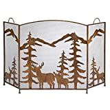Rustic Country Style Forest Fireplace Screen (Iron Tri-fold)