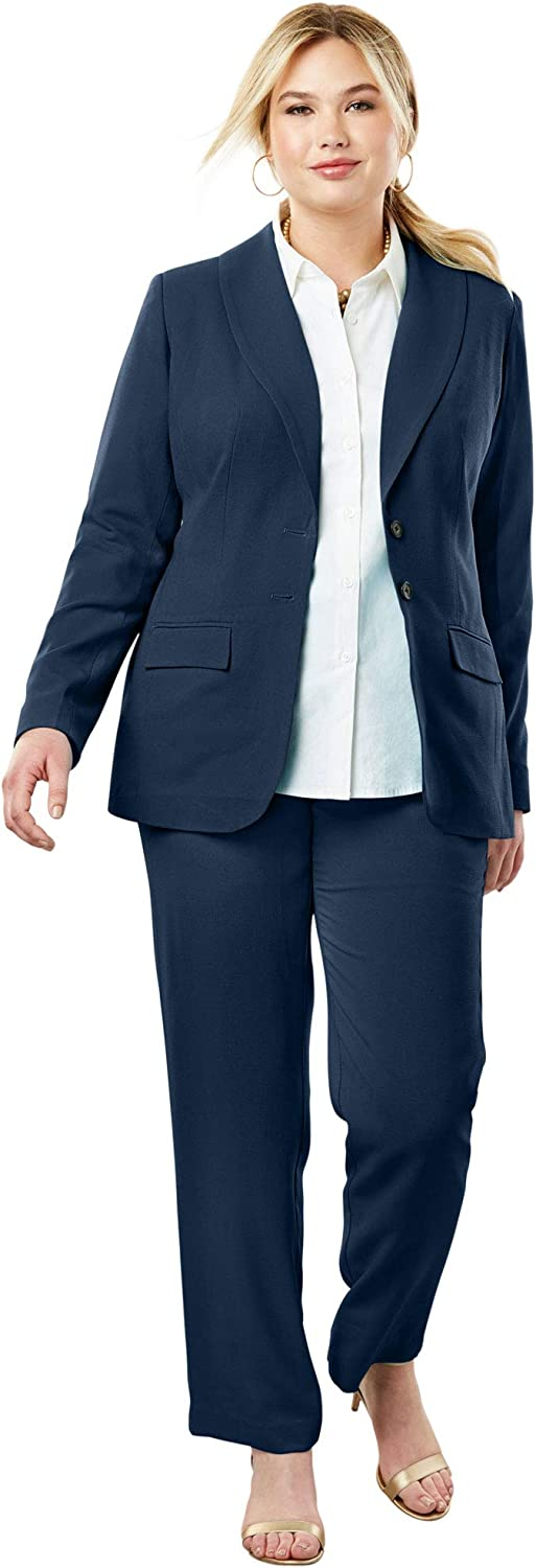 Jessica London Women's Plus Size Single Breasted Pant Suit
