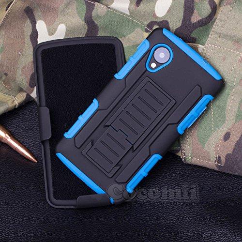 LG Nexus 5 Case, Cocomii Robot Armor NEW [Heavy Duty] Premium Belt Clip Holster Kickstand Shockproof Hard Bumper Shell [Military Defender] Full Body Dual Layer Rugged Cover Google D820 D821 (Blue)