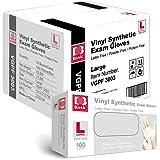 Basic Medical Clear Vinyl Exam Gloves - Latex-Free & Powder-Free - VGPF-3003 (Case of 1,000), Large