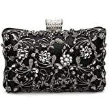 GESU Large Womens Crystal Evening Clutch Bag Wedding Purse Bridal Prom Handbag Party Bag.(Black)