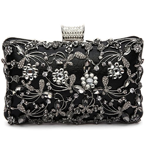 Brocade Wristlet - GESU Large Womens Crystal Evening Clutch Bag Wedding Purse Bridal Prom Handbag Party Bag.(Black)