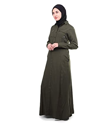 b324d431e18 Amazon.com  Silk Route Olive Utility Casual Viscose Urban Maxi Dress Jilbab  XLarge 54  Clothing