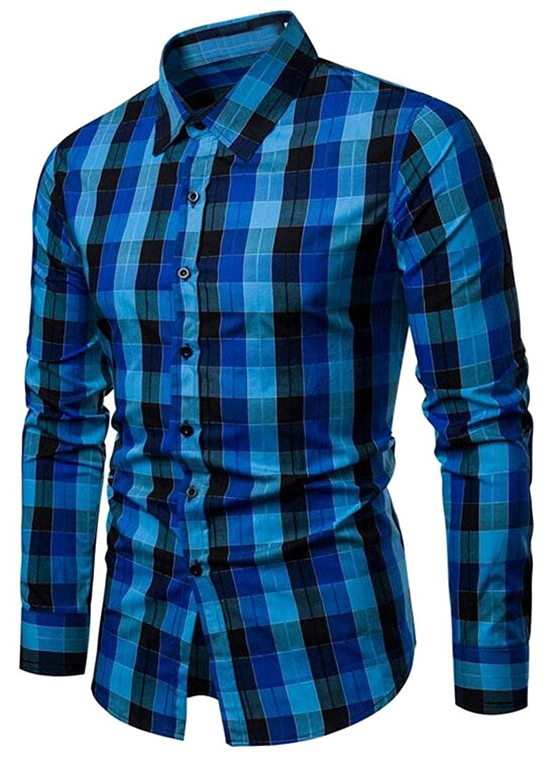 Sweatwater Men Button Down Casual Buffalo Plaid Long-Sleeve Slim Fit Shirts