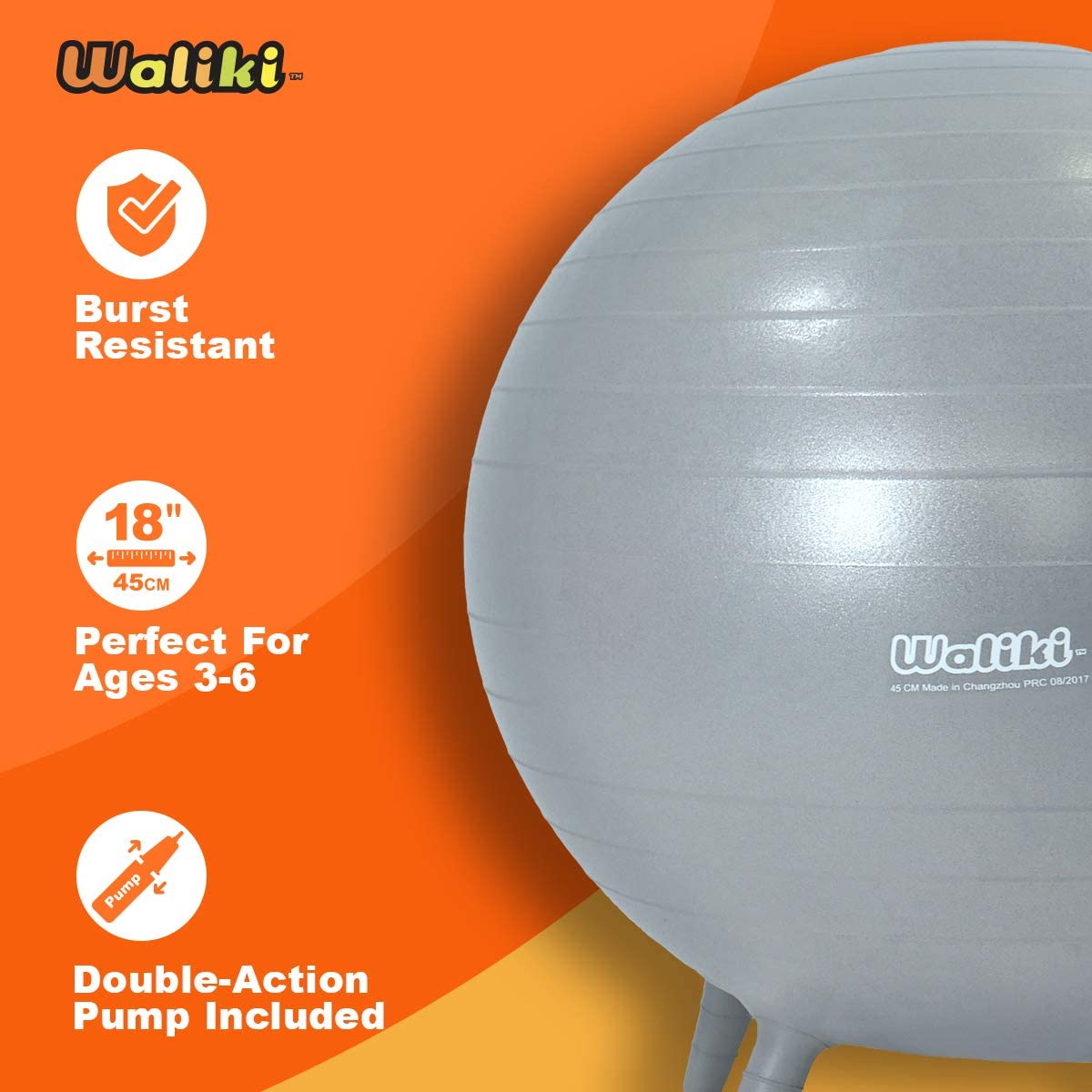 18//45CM Gray WALIKI Chair Ball with Feet for Kids 4 Pack Alternative Classroom Seating Ball