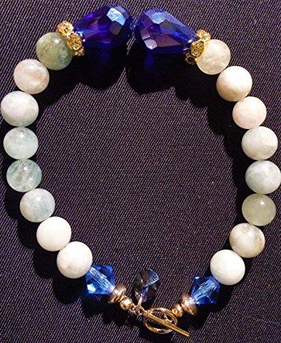 Multi-Aquamarine Bead Ball Shape Gemstone 8.0mm Gemstone with Cobalt Teardrop 10x15.0mm Center beads Preciosa Sapphire 7.0mm BiCone GF 1/20 14k (Gold Filled 1/20 of 14 karat) Bead Bracelet