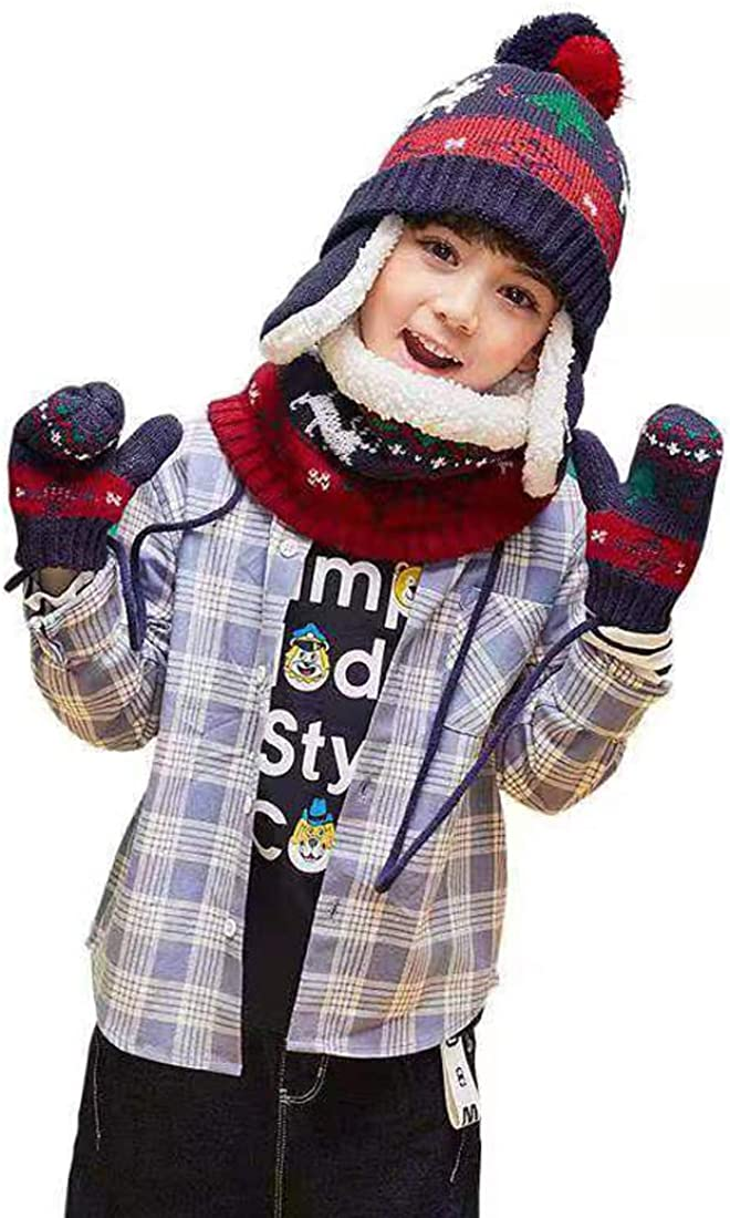 LoveKids Sherpa Lined Printed Hat//Scarf//Glove Knitted Accessory Set for Kids