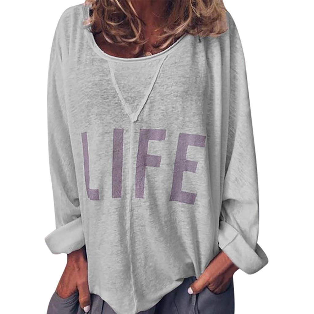 ✔ Hypothesis_X ☎ Women's Casual Round Neck Letter Print T-Shirt Top Long Sleeve Tops Blouse Gray by ✔ Hypothesis_X ☎ Top