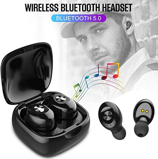 Stereo Deep Bass Wireless Earbuds Come with Charging Box 3500 mAh as Power Bank for Charging Cellphone,Remaining Power Display,Upgraded 5.0 Bluetooth Headphones Grey