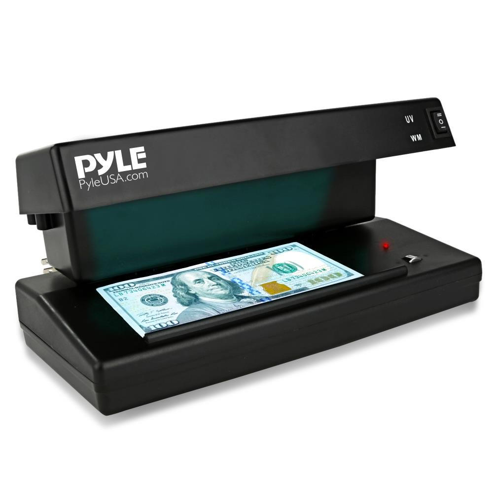 Pyle Improved Counterfeit Bill Detector, UV Light Machine, Currency Checker, Detects Latest Bills, U.S. & Canadian Dollar, Euros, Pound, Less Errors Than Older unit, For Bankers or Home (PRMDC10)