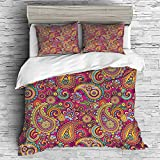 Cal King Vs Eastern King Size Cotton Bedding Sets Duvet Cover with Pillowcases Printed Comforter Cover Sets(King Size) Paisley,Paisley Patterns Based on Traditional Asian Elements Eastern Cultural Design,Multi