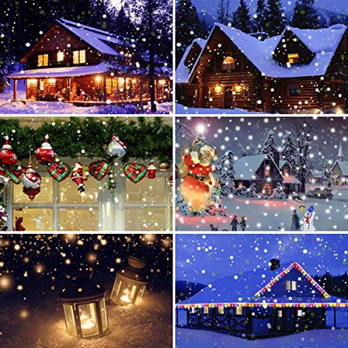 LED Snowfall Light Remote Control Christmas Snow Falling Night Projector Lights White Snowflake Flurries Rotating Spotlight Outdoor Indoor Landscape Decorative Lighting (Style B) by Asunflower (Image #5)
