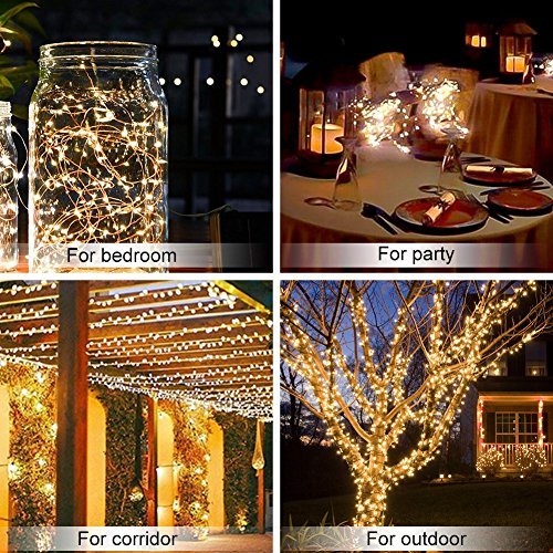 WAAO Solar String Lights, 33ft 100LED Outdoor String Lights, Waterproof Decorative String Lights for Patio, Garden, Home, Gate, Yard, Party, Wedding, Christmas (Warm White) by WAAO (Image #4)