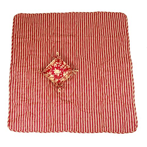 Folding Striped Outdoor Cotton Camping Picnic Baby Crawling Mat 120cmx120cm with Storage Bag
