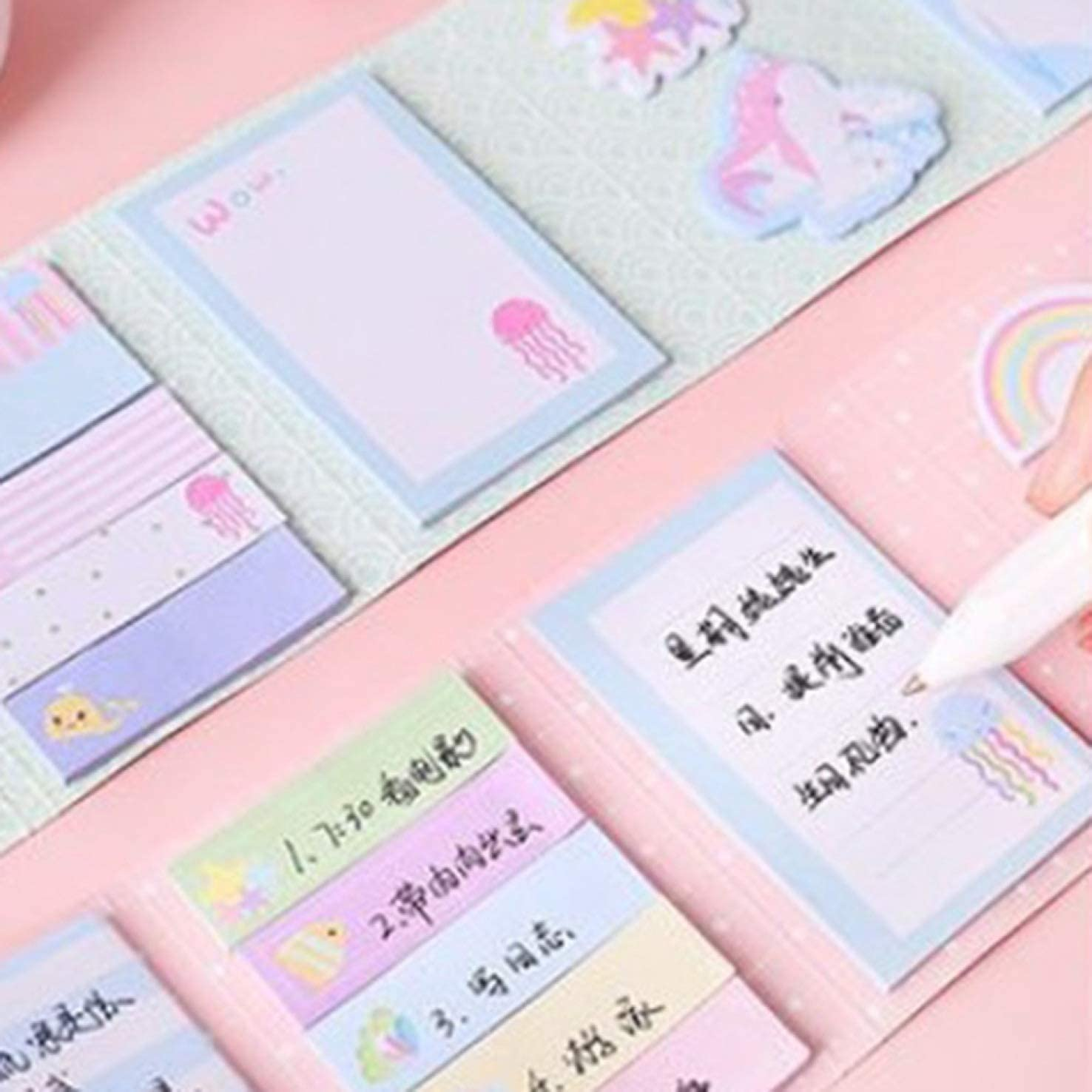 None as Picture Edinand Convenient Design Cute Note,Narwhal 6 Folding Memo Stickers Pad Cartoon Note Student Stationery Notepad