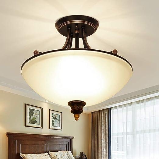 E27 Plafones Retro Vintage Diseño antiguo Lámpara de techo de vidrio Metal industrial Loft, Lámpara de estudio, Lámpara de comedor, Lámpara de sala, Lámpara de dormitorio, Lámpara de pasillo, 45x43cm: Amazon.es: Iluminación