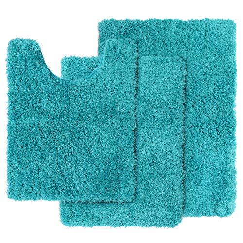 Clara Clark Shaggy Bath Rug with Non-Slip Backing Rubber Super Soft Bathmat-3 Piece Set, Teal