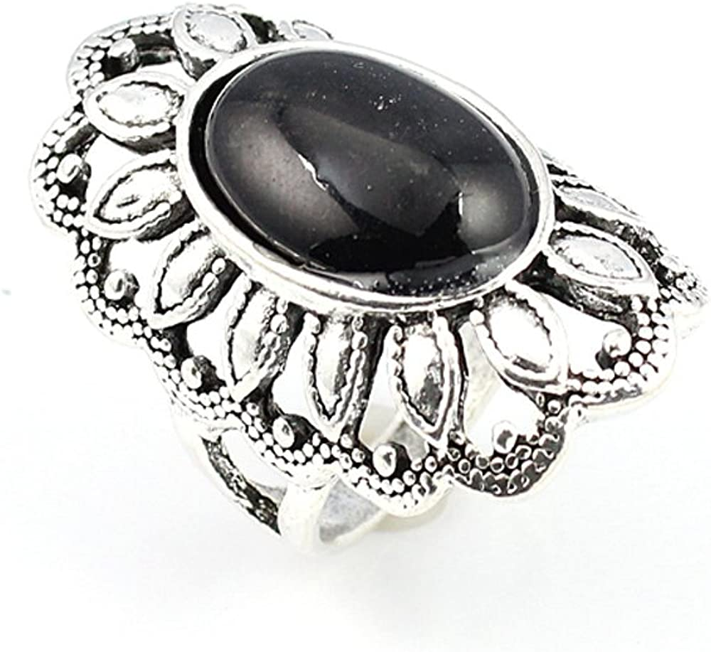 HIGH FINISH BLACK ONYX FASHION JEWELRY .925 SILVER PLATED RING 8 S22822