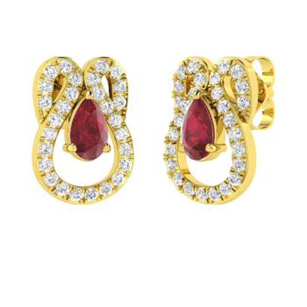 Dividiamonds 0.92 Ct Pear /& Round Shape Ruby /& Sim Clear Diamond Drop Earrings Solid 14K Gold Plated 925