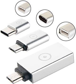 Muvit MUADP0020 - Pack de Adaptador USB 3.0 a Micro USB/Micro USB a Tipo C/Tipo C a Micro USB, Color Plata: Amazon.es: Electrónica