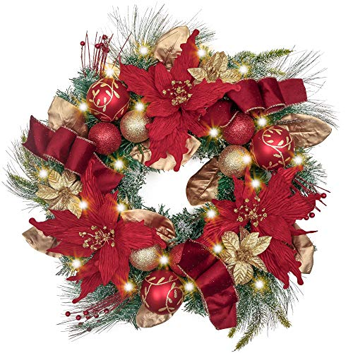 Valery Madelyn Pre-Lit 24 Inch Luxury Red Gold Christmas Wreath for Front...