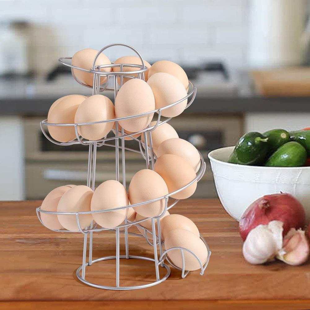 para cocina 11.8inch negro hogar o al aire libre 6.9 Dispensador de huevos con dise/ño de espiral 6.9