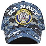 THE HAT DEPOT Official Licensed 3D Embroidered Military One Size Cap (Blue Digi Camo- U.S. Navy)