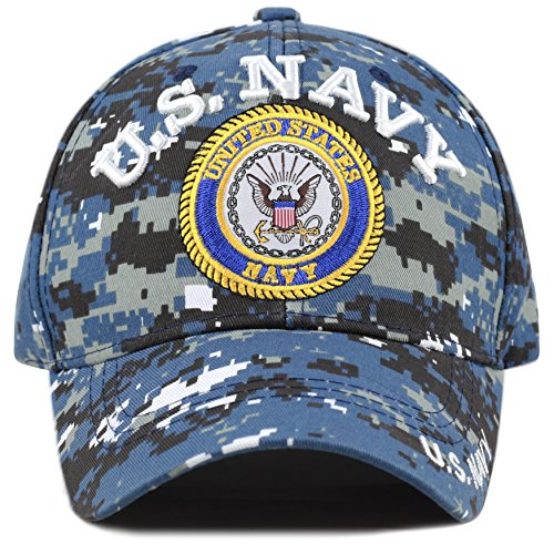 THE HAT DEPOT Official Licensed 3D Embroidered Military One Size Cap (Blue Digi Camo- U.S. Navy) ()