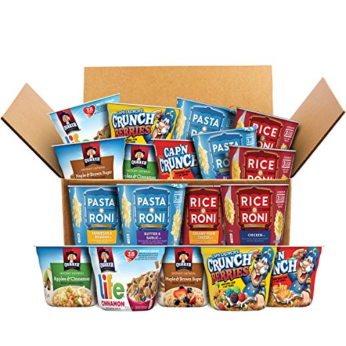 All-Day Cups Care Package for College, Military, and Camping, Variety of Quaker Instant Oatmeal, Pasta Roni, Rice-A-Roni, Cap'n Crunch, and Life Breakfast Cereal (18 Count)