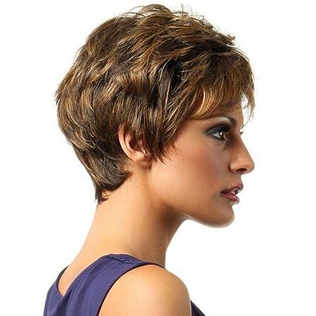 Nueva moda peluca corta del pelo ondulado pelucas sintéticas a prueba de calor para las mujeres niñas: Amazon.es: Deportes y aire libre