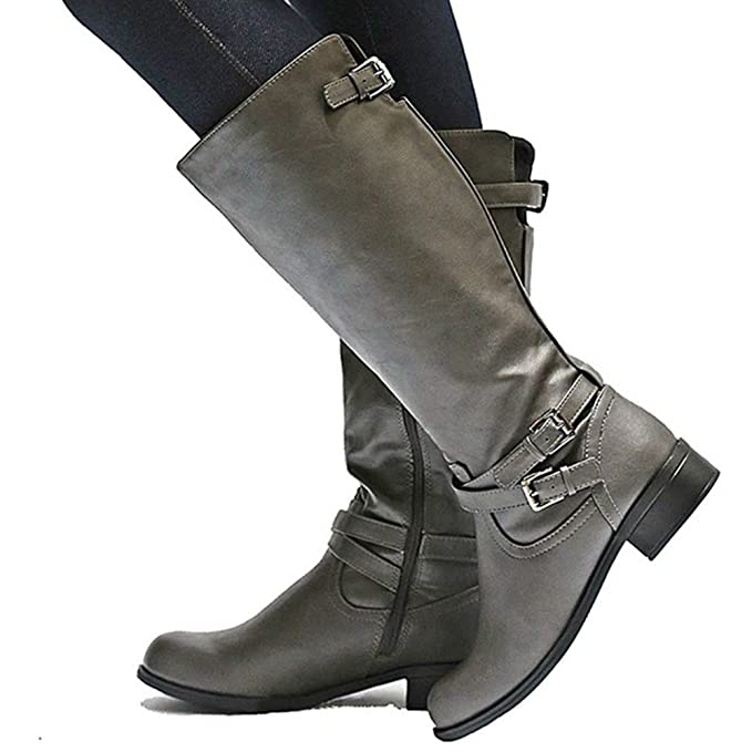 d7aa4b04898f5 Amazon.com: Cicy Bell Womens Winter Knee High Boots Wide Calf Chunky ...