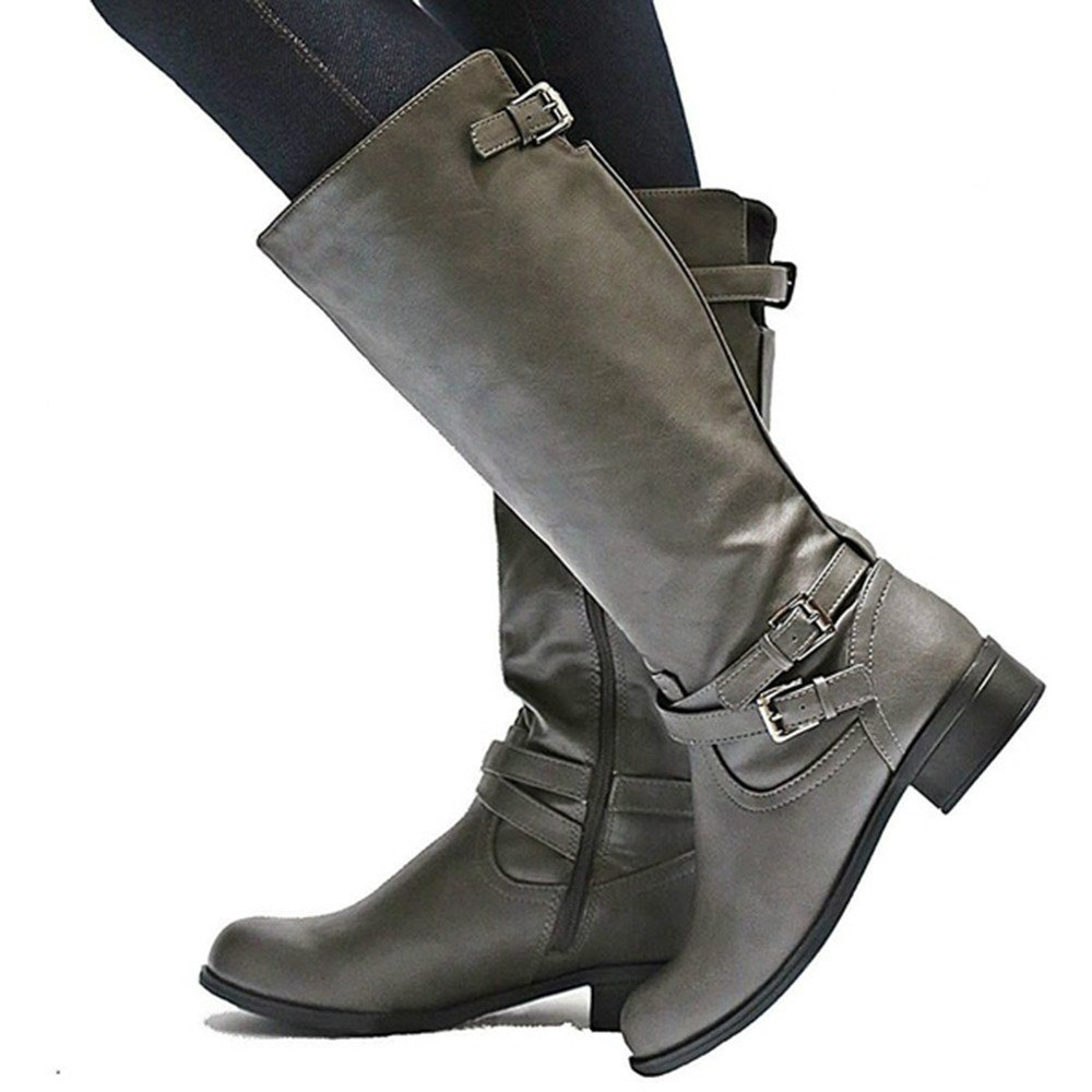 502d4af5d5c Syktkmx Womens Winter Knee High Boots Wide Calf Riding Military Moto Chunky  Low Heel Boots - Casual Women s Shoes