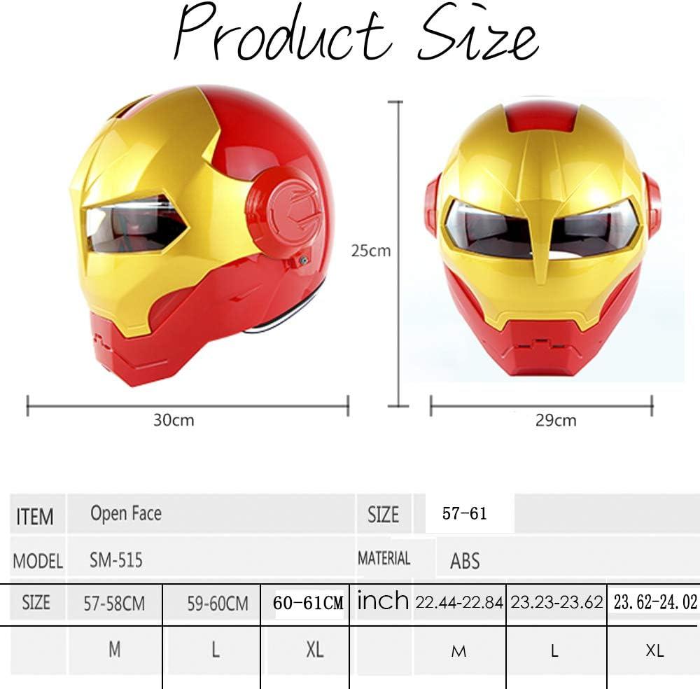 M L 57~58CM EDW Casco de Motocicleta de Cara Completa Certificado D.O.T Cascos de Moto con m/áscara Abierta de Motocross Casco Moto transformadores Iron Man XL Rojo Dorado,M